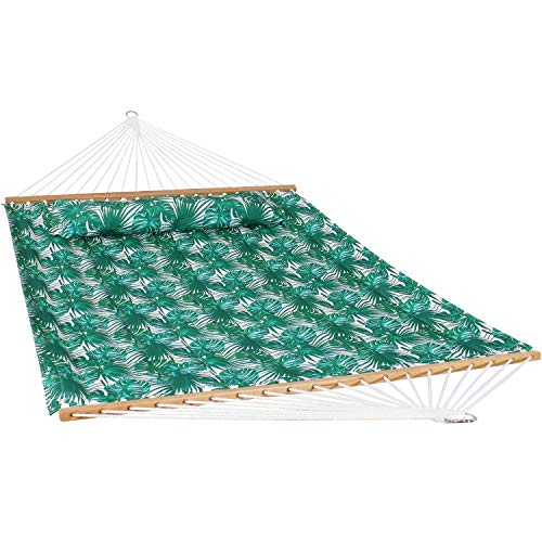 Sunnydaze 2-Person Quilted Printed Fabric Spreader Bar Hammock and Pillow - Large Modern Cloth Hammock with Metal S Hooks and Hanging Chains - Heavy Duty 450-Pound Weight Capacity - Green Palm Leaves