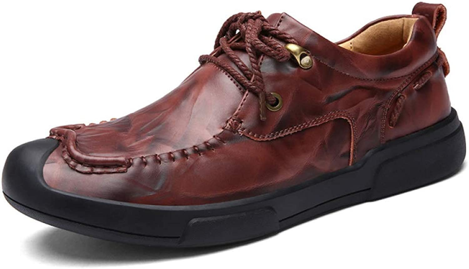 LUCKYEUD Mens Business shoes Leather-Lined Lightweight Formal Business Work Comfort Lace-Up shoes Suitable For All Seasons,Red-EU43