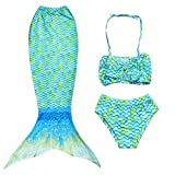 RKRCXH Cola De Sirena para Natación 3pcs Traje De Baño Mermaid Bikini Establece Disfraz De Sirena para Niña Princesa Cosplay Conjuntos Bikini niña Cola de Sirena (Color : Green, Size : 120cm)