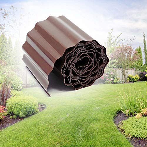 WilTec Borde delimitador césped 9m 20cm Marrón Borde césped Bordura Exterior Jardínes...