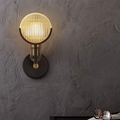 HMAKGG Lámpara de Pared Vintage Retro de Diseño Industrial Apliques de Pared para Sala, Dormitorio, Pasillo, Metal, Vidrio, Negro (Sin Bombillas)