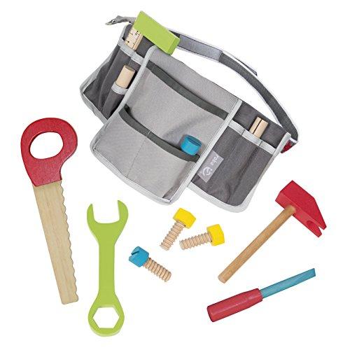 Cinturón de trabajo infantil Roba herramientas compuesta de 11 piezas de madera, ajustable, herramientas infantiles, herramientas de juguete roba
