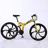 ZHTX Montagne Vélo Route Vélo de Course Vélo Pliable vélo 26 Pouces en Acier 21/24/27/30 Speed Bicycles Freins à Disque Double (Color : Yellow, Size : Six Cutter Wheels)