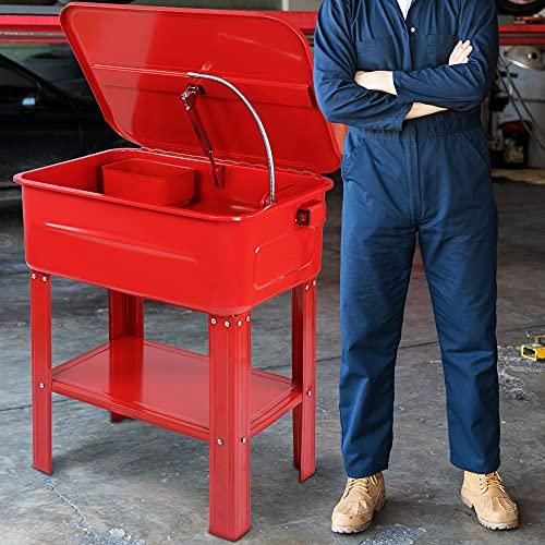 Timbertech Lavadora de Piezas para Taller Eléctrica 80 L - con Pompa 26 W, Cepillo para Lavar y Cesta Extraíble para Piezas Pequeñas - Maquina Limpiadora de Herramientas Antigrasa, Repisa de Lavado