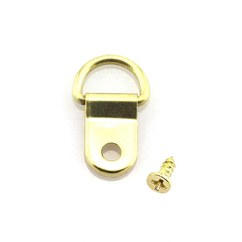 Lind Kitchen 100pcs 15x25mm Gold D-Ring Frame Hook Hanger for Picture Painting Picture Mirror Artwork Backboard etc Home Decoration Hanging Hardware