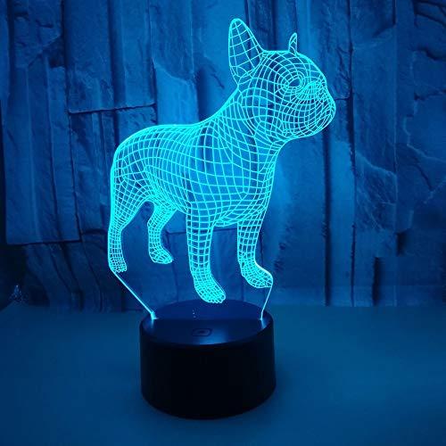 TOMSSL Puppy LED Colorido Gradiente 3D Estéreo Lámpara De Mesa Táctil Control Remoto USB Luz De Noche Escritorio Mesita De Noche Creativos Decorativos Adornos De Regalo