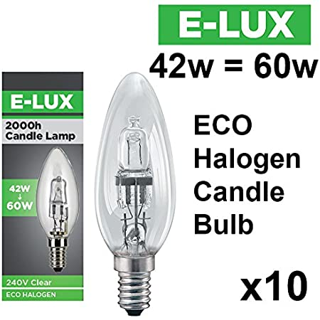 Candle 42w = 60w SES (E14) Halogen Eco Energy Saving Bulb Pack of 10