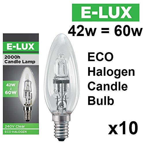 10 Halogen-Energiesparlampen von E-lux mit 42Watt = 60Watt und 28Watt = 40Watt, BC B22oder SES E14