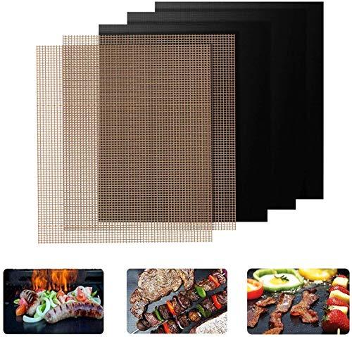 FIF BBQ Grillmatten, antihaftbeschichtete, Wiederverwendbare Grillmatten, Backmatten für Holzkohle, Gasgrill und Backofen 40 x 33 cm 3 schwarz + 3 braun