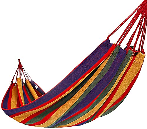 ZJDU Portable Single Casual Camping Hammock Neck Relief Rope Swing Chair Cotton Soft Sleeping Portable with Carrying Bag for Patio Yard Garden Backyard Porch Travel 190X80cm (Color : Red)