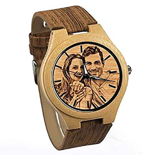 Panicy Orologio Personalizzato con Foto, Orologio da polso in legno personalizzato per l'incisione del messaggio per gli amanti