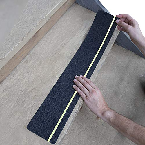 LifeGrip Anti Slip Traction Treads with Glow in Dark Stripe (10-Pack), 4' X 28', Best Grip Tape Grit Non Slip, Outdoor Non Skid Tape, High Traction Friction Abrasive Adhesive for Stairs Step