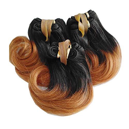 XMH 6 inch Short Human Hair Weave Virgin Brazilian Wavy Hair Extensions Ombre Hair Bundles 3bundles 150Gram For Full Head Two Tone Color Black to Auburn #1B/30