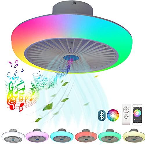 VOMI Moderno LED Plafon Lampara Ventilador Techo con Luz y Mando a Distancia, Silencioso LED Regulable RGB Altavoz Bluetooth Smart Música Ventilador de techo Lámpara Velocidad del Viento Ajustable