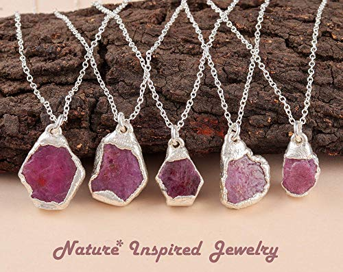 Natural Raw Ruby Gemstone Crystal Handmade Electroforming Pendant 925 Sterling Silver Necklace For Women July Birthstone Jewelry Gift For Mom Her