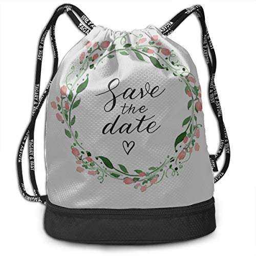 Gym Toiletry Bag Happy Save The Date Love Wreath Gym Drawstring Bags Backpack Sports String Bundle Backpack For Sport With Shoe Pocket Best Backpack