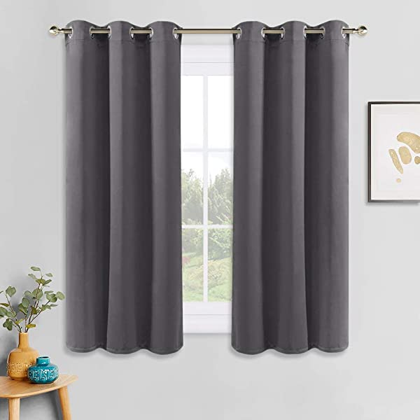 PONY DANCE Grey Blackout Curtains Thermal Insulated Grommet Curtain Panels Room Darkening For Kitchen Bedroom Window Treatments Home Decoration 42 Inches Wide By 45 Inches Long 1 Pair