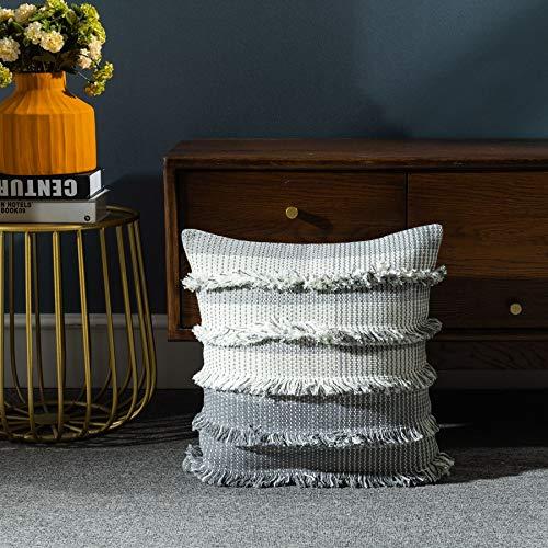 LIGICKY Fundas de almohada decorativas para el hogar, con borlas, diseño tribal bohemio, de algodón, cuadrada, funda de cojín para sofá, dormitorio, sala de estar, gris, 45,7 x 45,7 cm