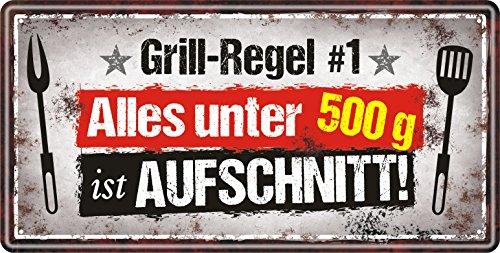 Großes Metallschild rostfrei Blechschild Schild mit lustigem Spruch im Vintage Retro Look (Grill- Regel 33510
