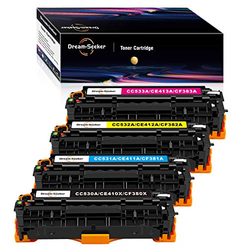 Dream-seeker Compatible con HP 304A 305X 312X CC530A CE410X CF380X Cartuchos de Tóner para HP Laserjet Enterprise M451dn CP2025 M451nw HP Color Laserjet CP2020 M451dw M475dw(4 Paquetes)