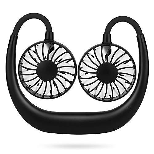 Simpeak Tragbarer Ventilator, USB Ventilator, Mini Hals Lüfter hängender, 360°Nacken Ventilator zum Umhängen Gesicht Ventilator für Einkaufen/ Camping/ Picknick/ Sporttreffen/ Ausflüge