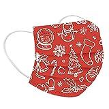 cinnamou 50 Stück Weihnachten Mundschutz Erwachsene Einweg 3-lagig mit Motiv,Mund-Nasen-Schutz,Bright Colors Druck Maske Tücher Atmungsaktiv Mund-Tuch Halstuch Schals