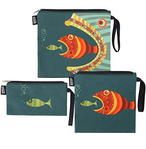 QOGiR Reusable Snack Bags Sandwich Lunch Bags with Handle(3 Pack) - Dishwasher Safe, BPA-free,...