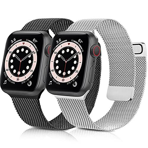 Mugust 2-Pezzi Cinturino Compatibile con Apple Watch Cinturino 44mm 40mm 42mm 38mm, Magnetico Cinturini di Ricambio Traspirante per Apple Watch SE Series 6 5 4 3 2 1(42MM/44MM)