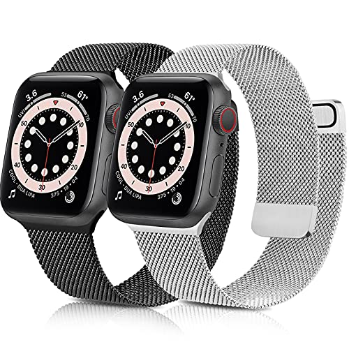 Mugust 2-Pezzi Cinturino Compatibile con Apple Watch Cinturino 44mm 40mm 42mm 44mm, Magnetico...