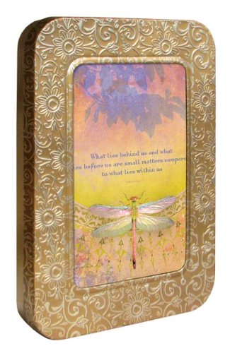 Tree-Free Greetings Noteables Notecards In Reusable Embossed Tin, 12 Card Assortment, Recycled, 4 x 6 Inches, What Lies Behind, Multi Color (76064)
