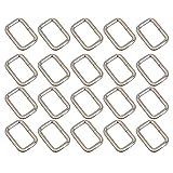 Pixnor rettangolare in metallo Beris Dee Ring D piccola cintura, cinturino regolabile a fibbia, 25 mm, confezione da 20, 32 mm
