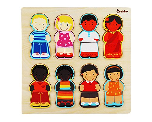 Wooden Children of The World Racial Cognition Dress-up Puzzle with Tray 24 Pieces Mix and Match Boys and Girls Diversity Toys for Kids