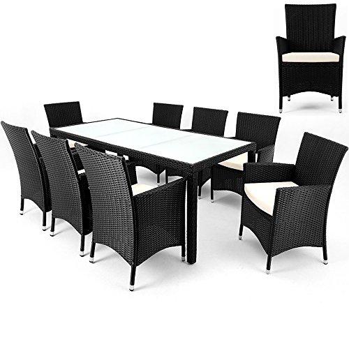 Salon de jardin polyrotin - 8 chaises + 1 table - Noir - meubles terrasse balcon