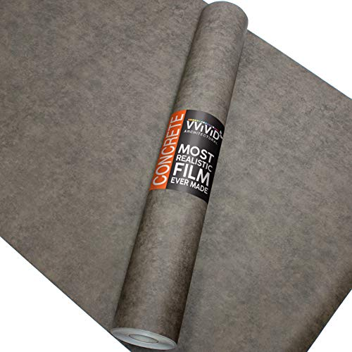 VViViD Dark Grey Concrete Natural Texture Architectural Vinyl Sheet Film Roll (16 Inch x 6.5ft Roll)