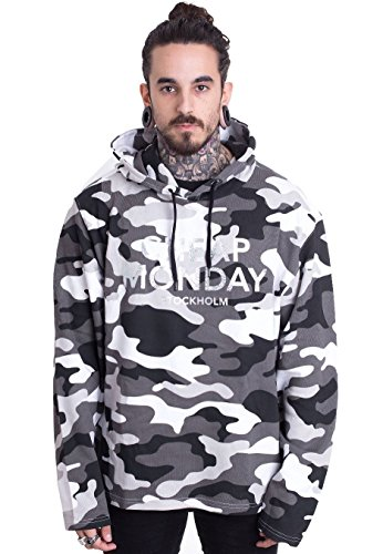 Cheap Monday Pullover 2 Hood After Camo L Felpa, Nero, L Uomo