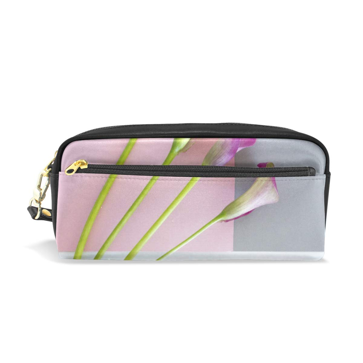 Cute Cosmetic Bag Pencil Case 7.93.52.4IN Recommended Lilies On White Ink Charlotte Mall An