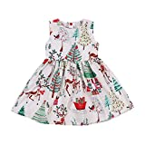 GRNSHTS Baby Girls Christmas Dresses Clothes Floral Deer Sleeveless Outfits (Multicolor, 1-2 Years)