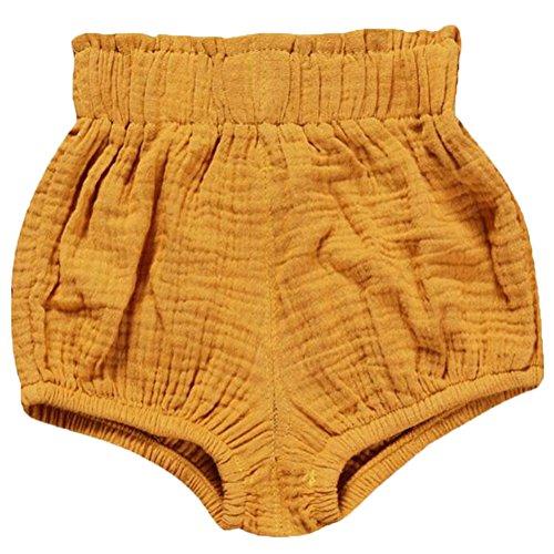 LOOLY Unisex Baby Girls Boys Cotton Linen Blend Bloomer Shorts ,90,Yellow