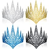 4 Pieces Die Cut Goth Queen Crown Royal Medieval Evil Queen Crown Costume Prom Party Hair Accessories for Women Girls Decoration
