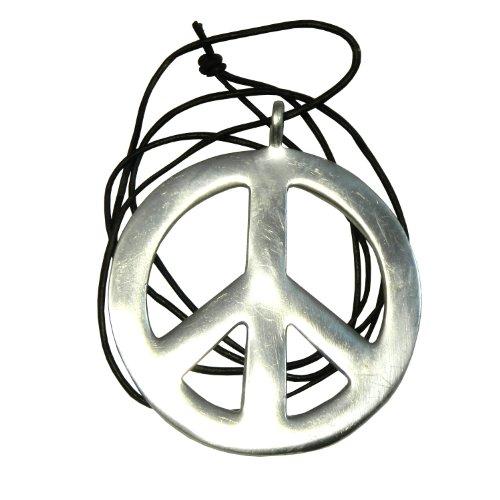Halskette Peace Anhänger PORTOFREI Friedenssymbol Hippie Kette Aluminium