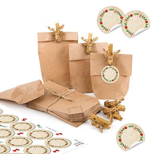 Lot de 24 mini sacs en papier brun 15 x 9 x 3,5 cm + pinces en forme de cerf Doré + 24 étiquettes blanches Kranz Vert Rouge Blanc Cadeau Noël
