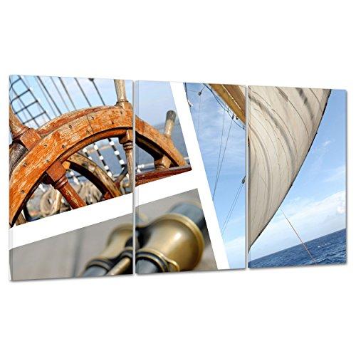 ConKrea afbeelding op canvas, ingelijst, klaar om op te hangen, schip, verrekijker, zeilen