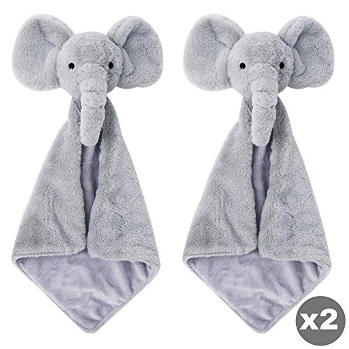 Time2blossom Baby Lovey Elephant Security blanket - Giftset of TWO Unisex Plush Stuffed Cuddle Animal Toy | Gift for Newborn or Toddler