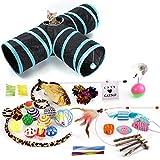 35 Stück Katzenspielzeug Set mit Katzentunnel Bälle Federspielzeug Katzen Spielzeug Variety Pack