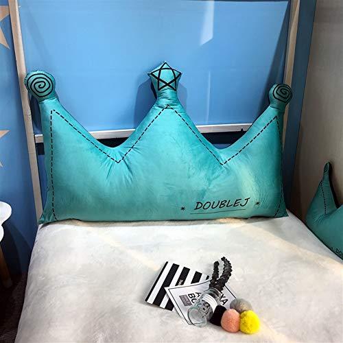 Liveinu Cojín de forro polar con forma de corona, para cama, sofá, sillón, lavable, decoración, verde, 60 x 120 cm