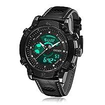 BINZI メンズ腕時計 ミリタリー,カジュアル 多機能 防水 レザーバンド アナログ表示 日付 1609 ブラックブラック