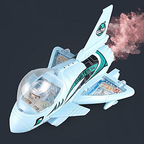 ZDYHBFE Aeronaves de espray eléctrico Simulación de luz y música Fighter Boy Toy Avión Regalos para niños de 0-3-6 Regalo del día de los niños Conducción Universal Fumar Shark Hawk Fighter