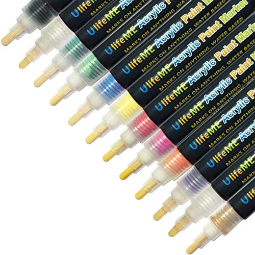 UlifeME Acrylstifte Marker Stifte, 12 Farben Wasserfeste Marker Bunt Set Permanent Art Filzstift für Holz, Steine, Leinwand, Metall, Kunststoff, Keramik, Glasmalerei, Stoffmalerei, Rock-Malerei & DIY