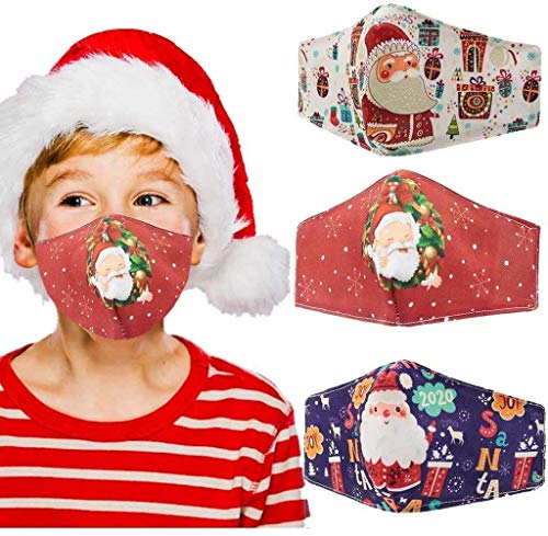 Dienalls Adjustable Kids Christmas Face Mask Reusable Washable, Cloth Cotton Facemask Santa Claus Face Cover with Filter Pocket, 3pcs