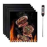 Nifogo Estera para Parrilla de Barbacoa 6 Piezas BBQ Grill Mat Tapetes para Hornear, Antiadherentes e Reutilizable, Asada y Barbacoa para Carbón o Gas, con 1 Termómetro Digital (B-50 * 40CM)